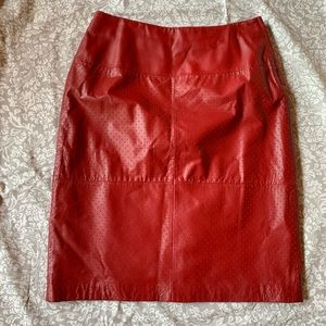 Dark red vintage leather skirt! Great condition!
